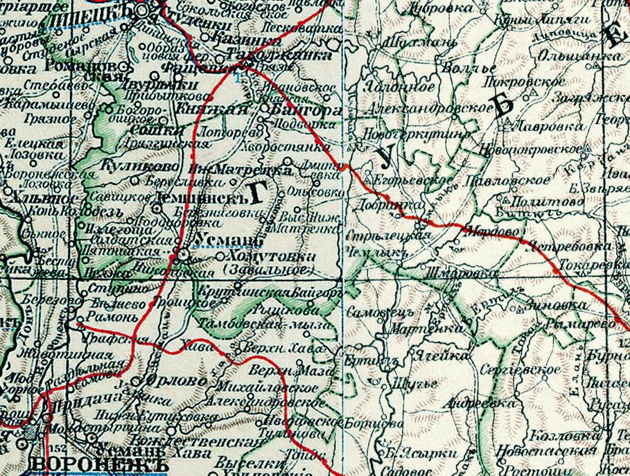 Фото. карта усманского уезда 1903 года - карты тамбовской гу.